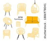 vector rattan chair collection...   Shutterstock .eps vector #1886978041