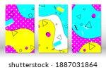 set of doodle fun patterns.... | Shutterstock .eps vector #1887031864