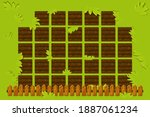 vector farm field with wooden...