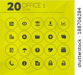 simple thin office icons on...