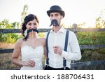 happy couple on wedding day.... | Shutterstock . vector #188706431