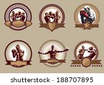 Set of six different vector combative sport icons or emblems showing a single boxer fighting, two boxers sparring and a champion with raised arms, some with shields and banners