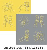 collection of clink glasses... | Shutterstock .eps vector #1887119131