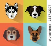 animal portrait set with flat... | Shutterstock .eps vector #188712377