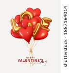 valentine's day background with ... | Shutterstock .eps vector #1887164014