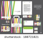 Color corporate identity template design with colorful lines. Vector company style.