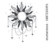 modern symbol of the sun with... | Shutterstock .eps vector #1887234391