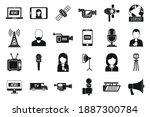 tv presenter news icons set.... | Shutterstock .eps vector #1887300784