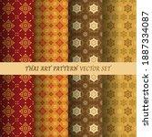 thai flower pattern seamless... | Shutterstock .eps vector #1887334087