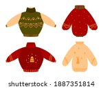 cute cozy ugly red christmas... | Shutterstock .eps vector #1887351814