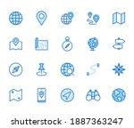 location line icon set. compass ...