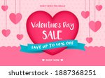 valentine's day sale banner... | Shutterstock .eps vector #1887368251