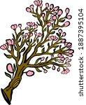 branch of sakura flower vector... | Shutterstock .eps vector #1887395104