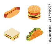 set of fast food   hotdog ... | Shutterstock .eps vector #1887449077