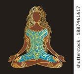 yoga girl. african american...   Shutterstock .eps vector #1887461617