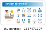 network technology icons set....