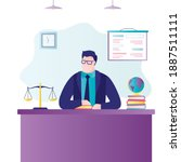 male notary sits at workplace....   Shutterstock .eps vector #1887511111