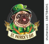 st. patrick's day the pug wears ...   Shutterstock .eps vector #1887584041
