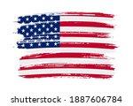 grunge brush stroke usa flag. | Shutterstock .eps vector #1887606784