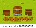vector isolated wooden crates...