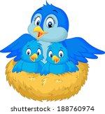 mother bird with her two babies ... | Shutterstock .eps vector #188760974