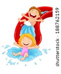 Happy Children On Water Slide