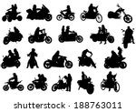Silhouettes Of Moto Bike Whit...