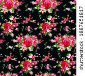 seamless vintage pattern with... | Shutterstock .eps vector #1887651817