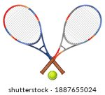 two tennis rackets and ball... | Shutterstock . vector #1887655024
