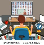 man watching lesson online and... | Shutterstock . vector #1887655027
