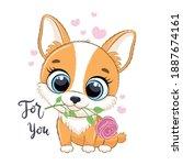 cute little dog with flower.... | Shutterstock .eps vector #1887674161
