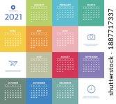 2021 year calendar. week starts ... | Shutterstock .eps vector #1887717337