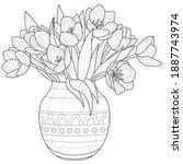 bouquet of tulips in a vase... | Shutterstock .eps vector #1887743974