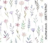 cute delicate floral pattern... | Shutterstock . vector #1887765967