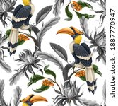 seamless pattern with birds and ... | Shutterstock .eps vector #1887770947