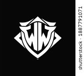 WW Logo monogram with shield and horn shape design template ON black background