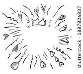 starburst  sunburst hand drawn. ... | Shutterstock .eps vector #1887826837