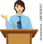 illustration of a teenage guy... | Shutterstock .eps vector #1887828337