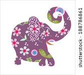 cartoon bright floral  elephant ... | Shutterstock .eps vector #188786861
