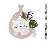 cute little baby leopard... | Shutterstock .eps vector #1887889051