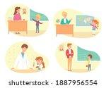 school lessons in class set.... | Shutterstock .eps vector #1887956554