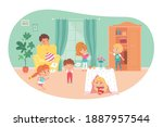 little kids playing hide and... | Shutterstock .eps vector #1887957544