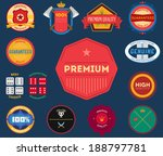 set of flat colored vintage... | Shutterstock . vector #188797781