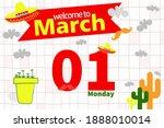 welcome to february with... | Shutterstock .eps vector #1888010014