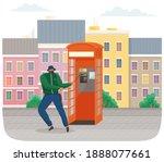 vandal damaging the telephone... | Shutterstock .eps vector #1888077661