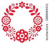 polish floral vector folk art... | Shutterstock .eps vector #1888083421