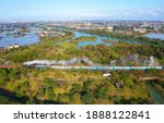 Aerial View Of A Tourist Train  ...