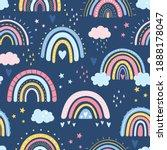 rainbow seamless pattern.... | Shutterstock .eps vector #1888178047