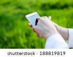closeup of woman hands using... | Shutterstock . vector #188819819