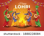 happy lohri festival of punjab ... | Shutterstock .eps vector #1888228084